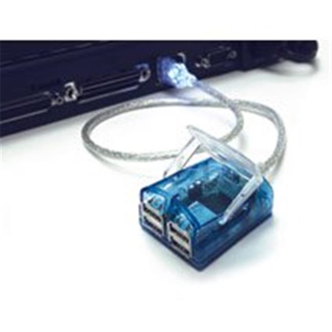 4-Port USB 2.0 Laptop Hub with 1.5ft Blue LED Indicator Cable