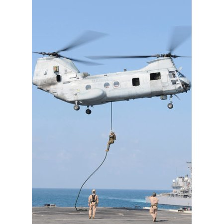 Soldiers Fast Rope From A Ch 46E Sea Knight Helicopter Onto Amphibious Transport Dock Uss Denver Poster Print By Stocktrek Images