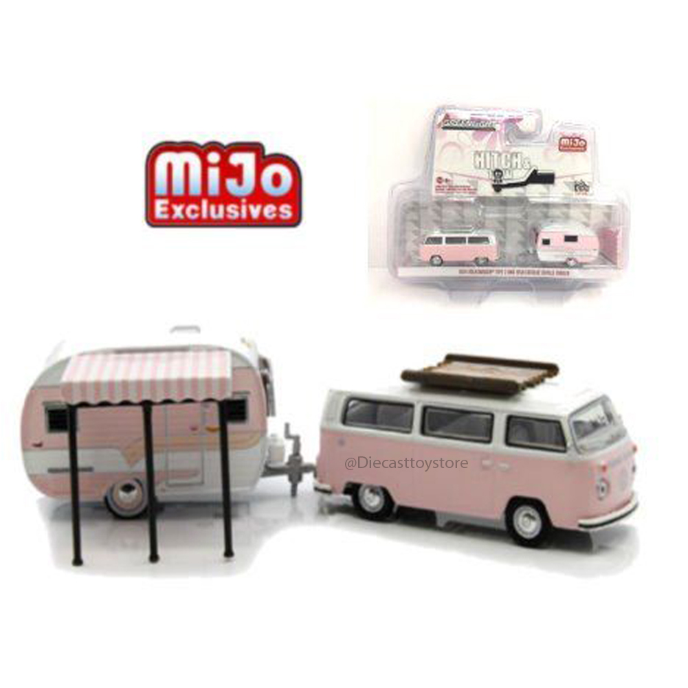 GREENLIGHT 1:64 HITCH & TOW CLUB V-DUB EDITION - MIJO EXCLUSIVES - 1974 VOLKSWAGEN TYPE 2 & 1958 CATOLAC DEVILLE TRAILER DIECAST 51114-A