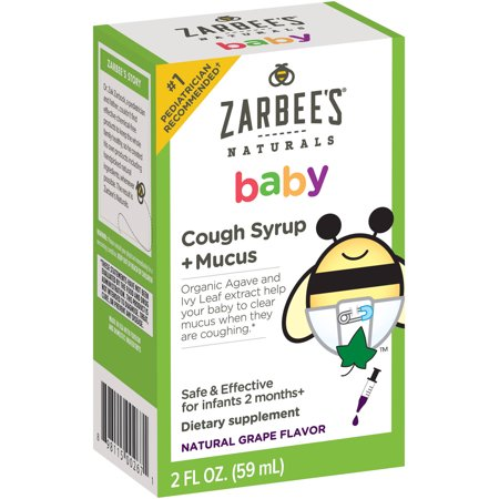 Zarbee S Naturals Baby Grape Flavor Cough Syrup Mucus 2