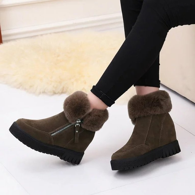 Black Women Short Ankle Boots Korean Style Thick Sole Boots Winter Snow Boots Fashion Footwear Warm Shoes Inner Increasing Height