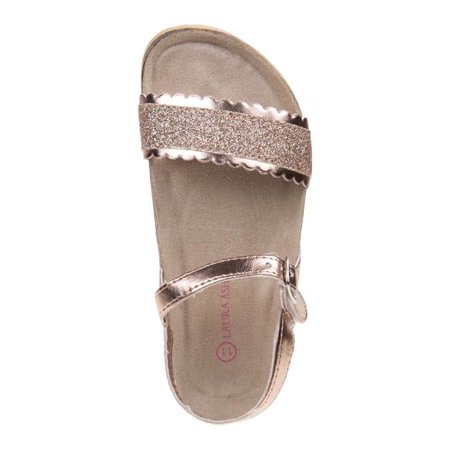 Laura Ashley O-LA81221SROSG2 Glitter Cork Lining Sandals for Toddler Girls, Rose Gold - Size 2