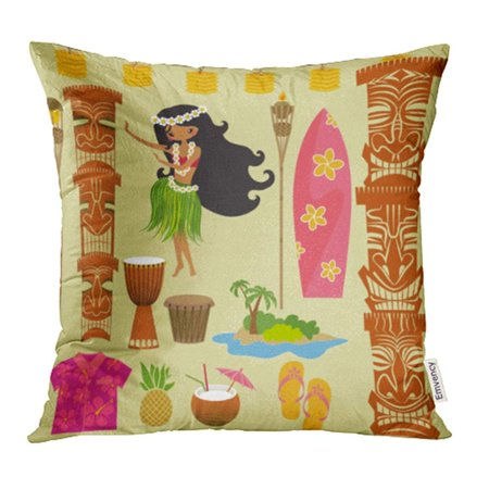 YWOTA Hawaii Symbols and Including Hula Dancer Tiki Gods Totem Pole Drums Torches Pillow Cases Cushion Cover 20x20 inch