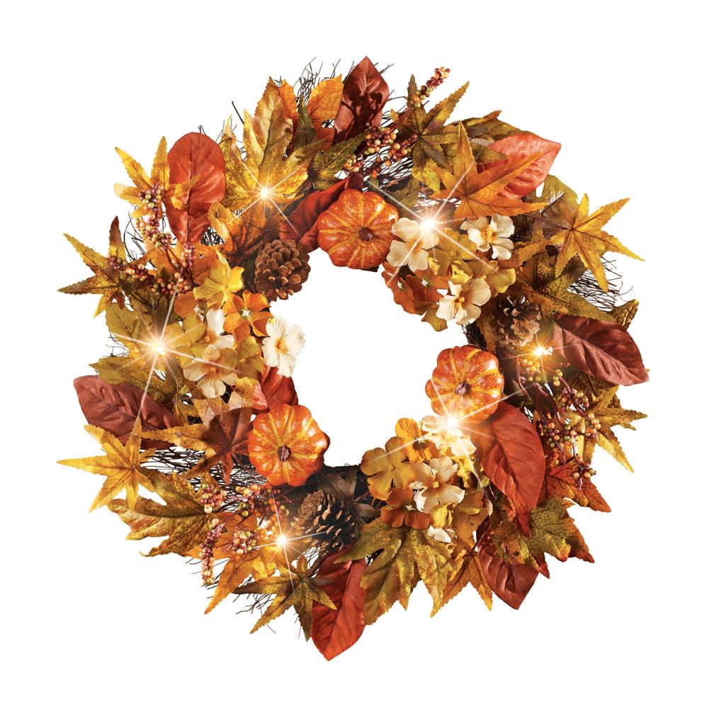 Light Up Fall Wreath With Foliage Pumpkins And Pinecones Outdoor Or Indoor Decor Walmart Com Walmart Com