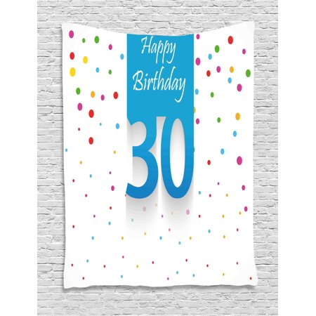 30th Birthday Decorations Tapestry Stylized Banner With Hand Writing And Confetti Like Polka Dots