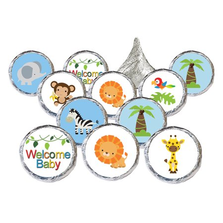 Jungle Baby Shower Stickers, 324 Count - Jungle Animals Baby Shower Candy Favors Safari Baby Shower Party Supplies - 324 Count Stickers (Safari Park Halloween Party)