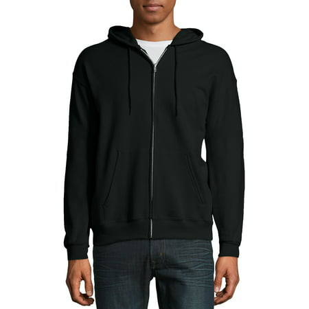 Hanes Men's Ecosmart Fleece Zip Pullover Hoodie with Front (Black Tek Patch Hooded Sweatshirt)