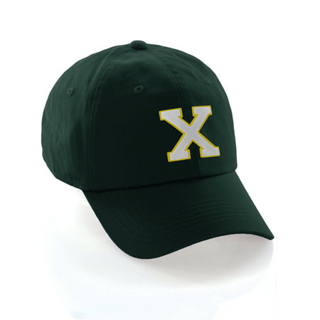 Custom Dad Hat A-Z Initial Raised Letters Classic Baseball Cap - Dark Green Hat with Gold White Letter