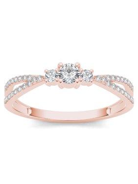1/4 Carat T.W. Diamond Split Shank Three-Stone 10kt Rose Gold Engagement Ring