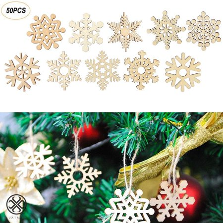 Luxtrada 50 Pieces Christmas Wooden Snowflake Cutouts Embellishments Hanging Ornaments for Christmas Tree Decoration Kids Crafts with Twines (50pcs) ()
