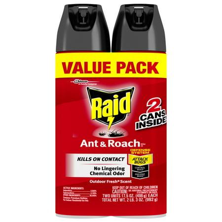 raid ant roach killer spray outdoor fresh 2 ct walmart com