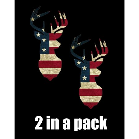 Pack Laser Stickers Flag Design - Laptop Sticker #2 Deer hunting American Flag theme skin decal sticker (2 in a pack)
