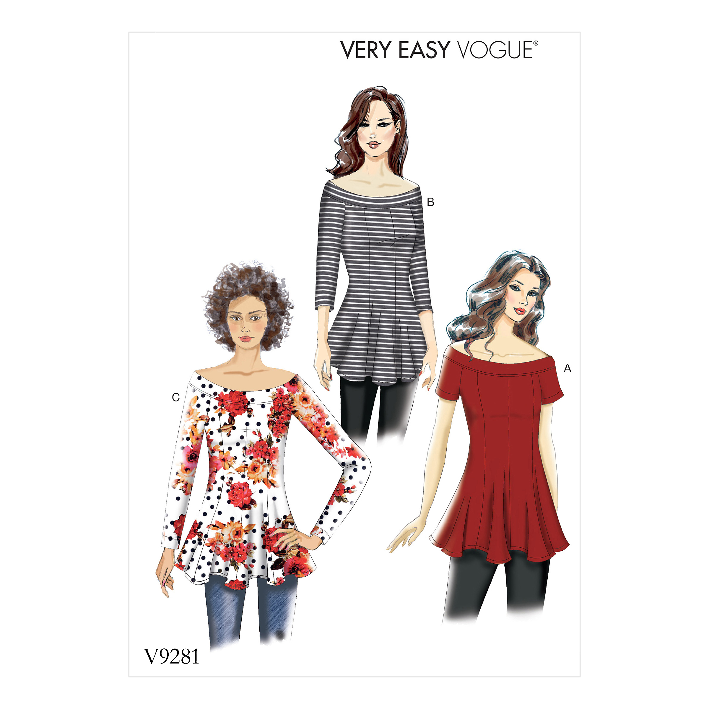 Vogue Patterns Sewing Pattern Misses' Knit Flare-and-Flare Top-6-8-10-12-14