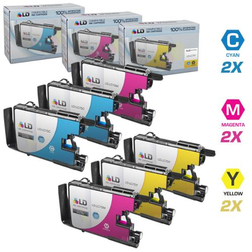 LD Brother Compatible LC75 Set of 6 HY Ink Cartridges: 2 each of LC75C Cyan / LC75M Magenta / LC75Y Yellow for use in the Brother MFC-J6510DW, MFC-J6710DW, MFC-J6910DW and MFC-J835DW Printers