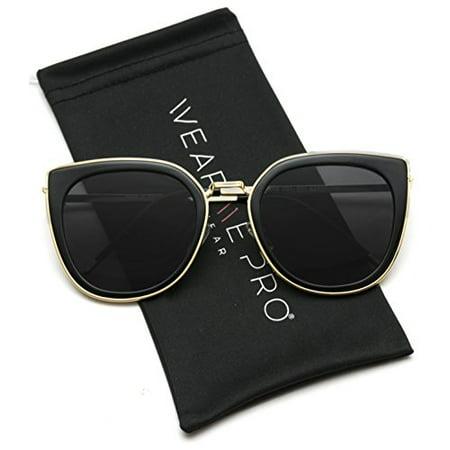 WearMe Pro - Elegant High Fashion Oversize Women Cat Eye Flat Top (Adidas Evil Eye Halfrim Pro Sunglasses)