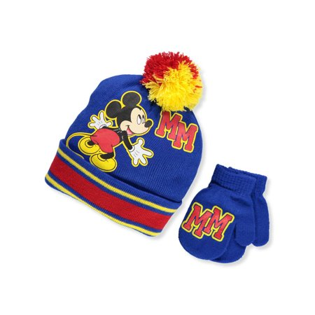 Disney Mickey Mouse Boys' Beanie & Mittens Set (Toddler One Size) (Mouse Mittens)