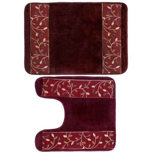 Burgundy Banded Leaf Bath and Contour Rug Set or Separates contour