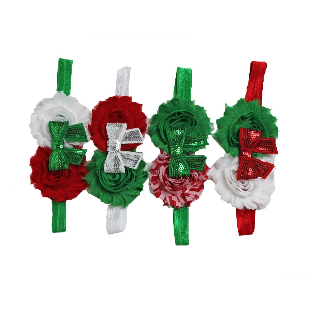 Z by Yoon Girls Red Green White Flower Sequined Bow Christmas 4 Pc Headband Set