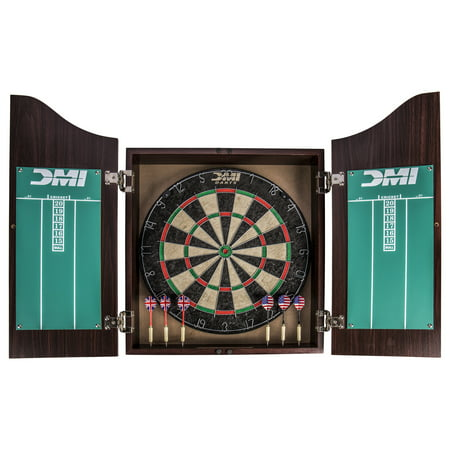 Brown Deluxe Board - DMI Sports Dartboard Cabinet Set with Rustic Wood Finish
