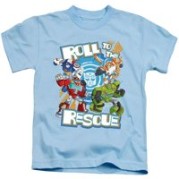Trevco Sportswear HBRO247-KT-2 Transformers & Roll to the Rescue-Short Sleeve Juvenile 18-1 T-Shirt, Light Blue - Medium 5-6