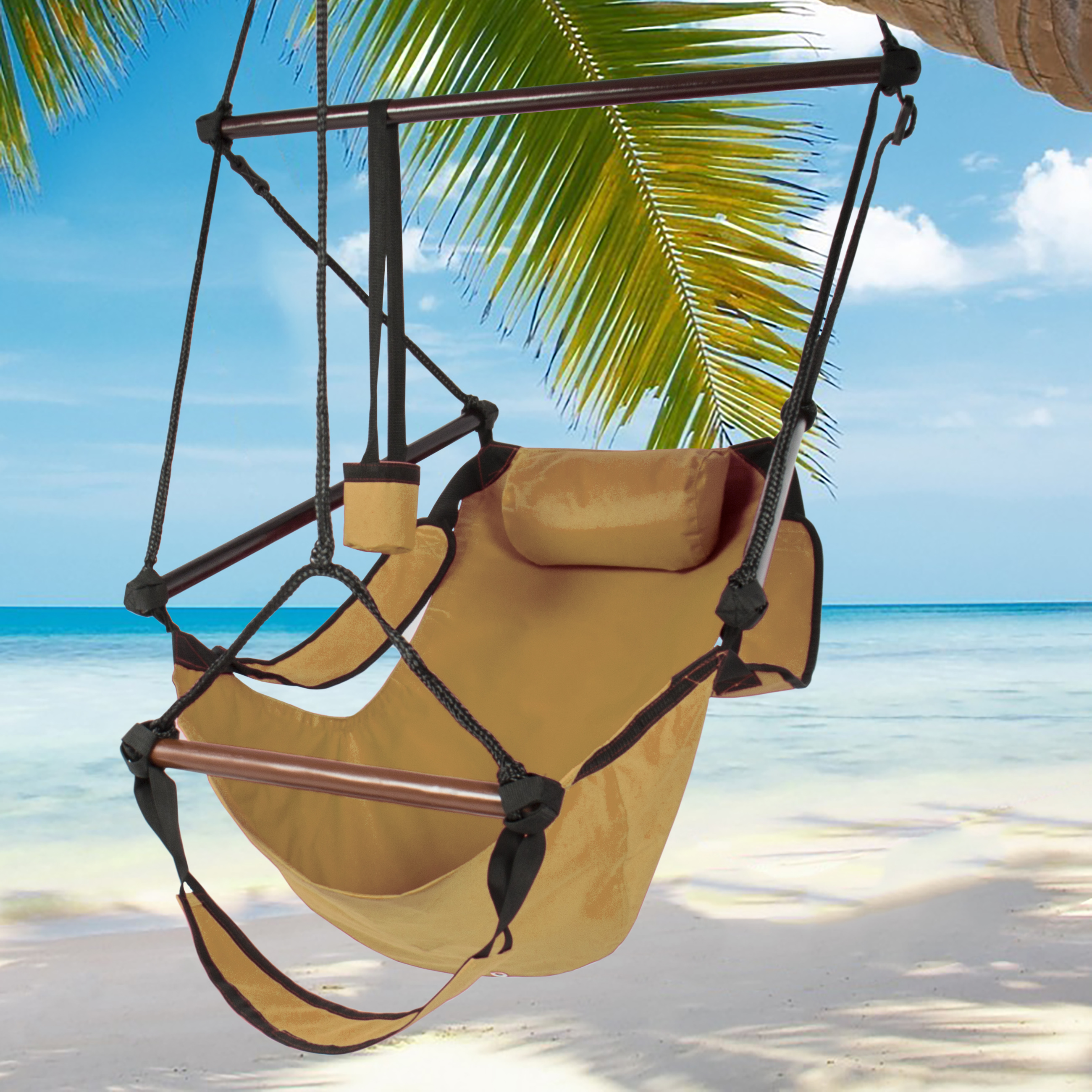 Hammock Hanging Chair Air Deluxe Outdoor Chair Solid Wood 250lb Tan