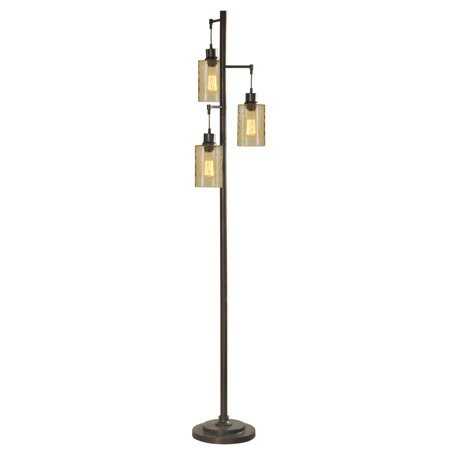 Floor Lamp - Bronze Finish - Champagne Glass