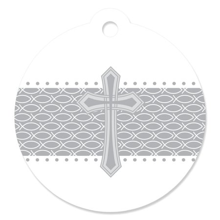 Delicate Blessings Cross - Baptism Party Favor Tags (Set of - Baptism Favor Tags