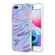 iPhone 8 Plus Case, Premium Marble Design TPU Cover Soft Slim Back Case - Purple/ Pink for iPhone 8 Plus (Anti Scratch, Raised Bezel, Shockabsorption)