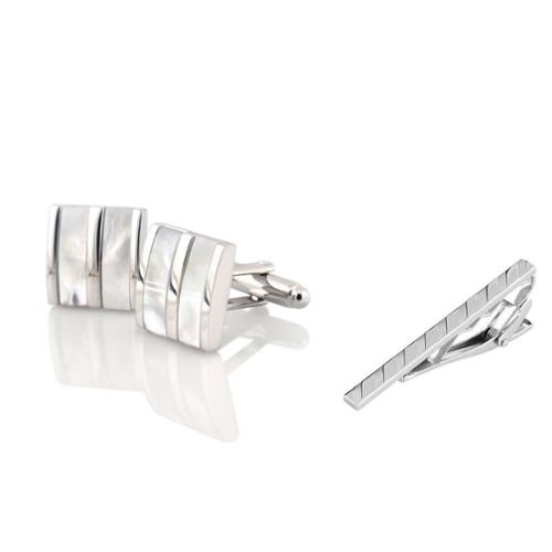 Zodaca Men's Silver White Jade Camber Cufflinks + Silver Angled Stripes Faceted Tie Clip (2-in-1 Accessory Bundle)