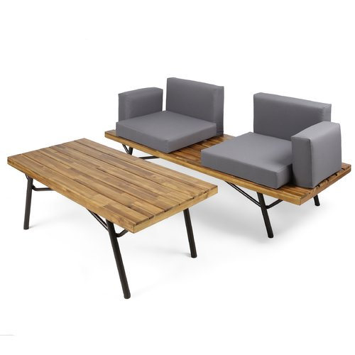 Williston Forge Beaty Acacia Wood 2 Piece Conversation Set with Cushions
