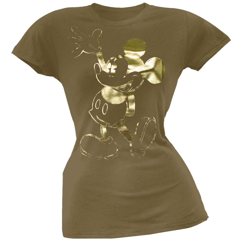 Mickey Mouse - Gold Character Juniors T-Shirt - Large