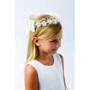 Girls White Flower Pearl Rhinestone Center Adorned Special Occasion Crown