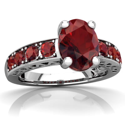 Garnet Art Deco Ring in 14K White Gold by