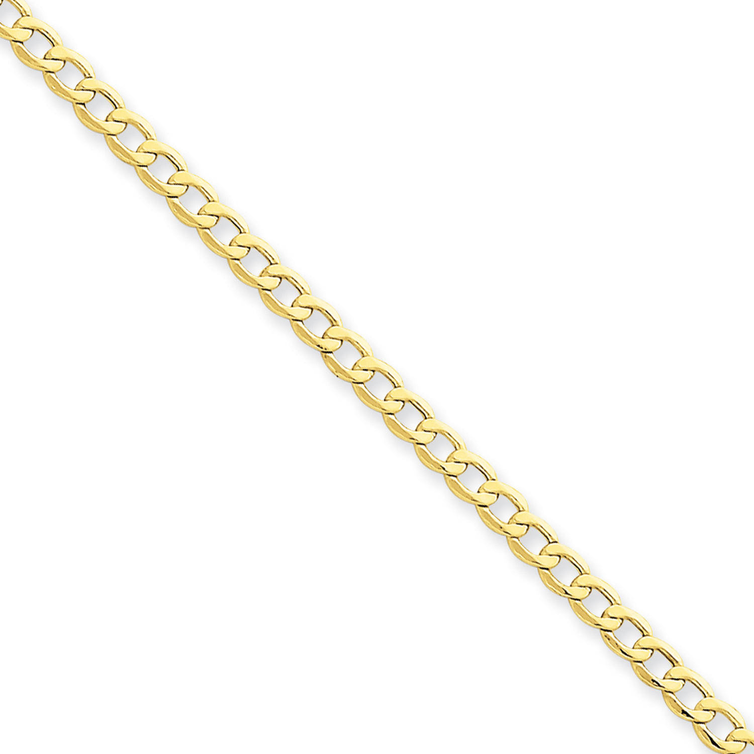 14kt Yellow Gold 3.35mm Semi-Solid Curb Link Chain by Generic