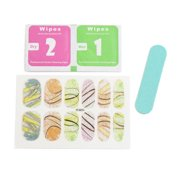 5 Sets Lines Printed Glitter Adhesive Full Art Stickers Nails Tips