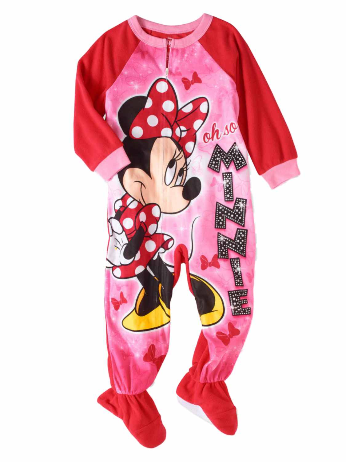 Disney Toddler Girls Pink Fleece Minnie Mouse Blanket Sleeper Footie Pajamas