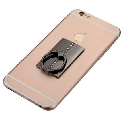 Insten Black Row Diamond Adhesive Ring Stand 360 Rotating Cell Phone Grip Holder Finger Bracket Kickstand Universal for iPhone 7 6 6s Plus SE 5s Samsung Galaxy S7 Edge S6 Note 5 J7 J5 J3 J1 On5 LG K7 - image 5 de 7