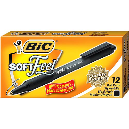 BIC Soft Feel Retractable Ball Pen, Medium, Black, 1-Dozen