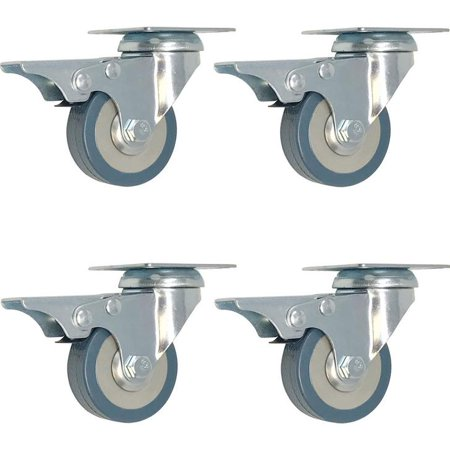 4 pack 2-Inch Swivel With Lock Brake Polyurethane Plate Caster