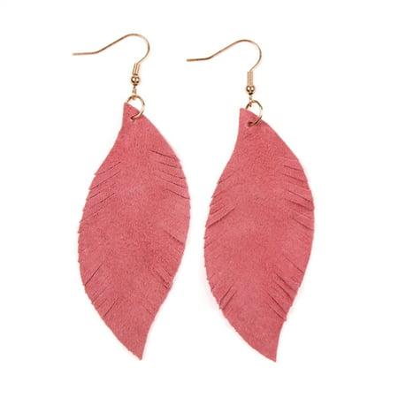 Riah Fashion Fringe Suede Leather Drop Earrings