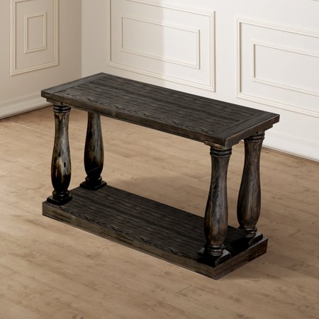 Furniture of America Lorence Plank Weathered Walnut Sofa Table by FOA (Style Walnut Sofa)