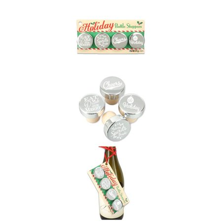 Ducky Days 7707252 1.25 x 1.25 in. Dia. Nice Holiday Sayings Silver Aluminum Top Bottle Stoppers - Set of 4 ()