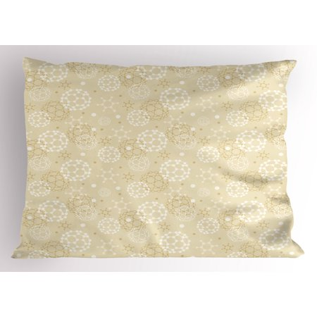 Ivory Pillow Sham Science Molecules Motif Chemical Bonds Circular Atoms in Soft Toned Form Design, Decorative Standard Queen Size Printed Pillowcase, 30 X 20 Inches, Cream White, by (Structure Of Atoms Molecules And Chemical Bonds)
