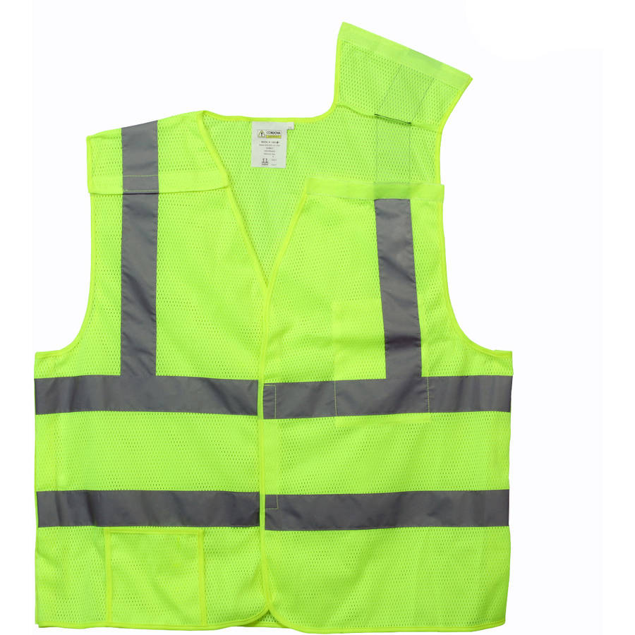 "Cordova Class II 5-Point Lime Breakaway Vest with 2"" Silver Reflective Tape"