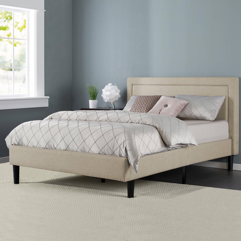 Zinus Mckenzie Upholstered Detailed Platform Bed with Wooden Slats, Multiple Sizes