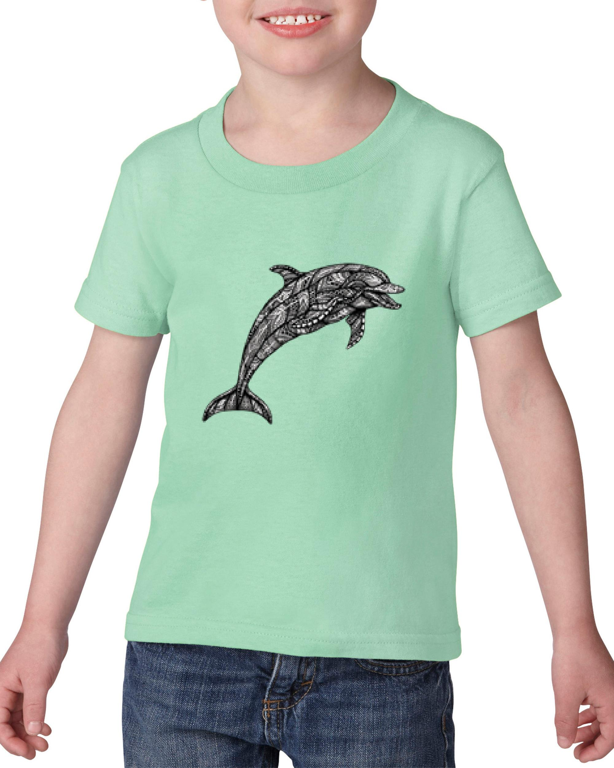 Artix Dolphin w Bandana Pattern Gift for Dolphin Lovers Christmas Birthday Heavy Cotton Toddler Kids T-Shirt Tee Clothing