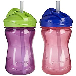 Playtex Baby Lil' Gripper Twist 'n Click 9 Ounce Straw Cup, 2 Count - Purple/Pink