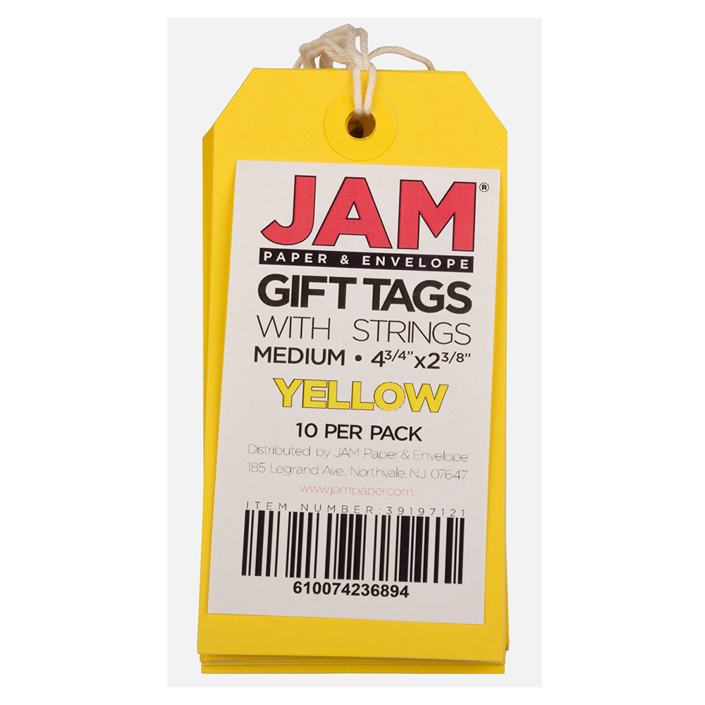 """JAM Paper Gift Tags with String, Medium, 4 3/4"""" x 2 3//8"""", Yellow, 1000/carton"""