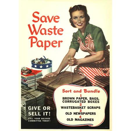 """1944 WW2 propaganda Save Waste Paper paper poster 14"""" x 20"""" - image 1 de 1"""