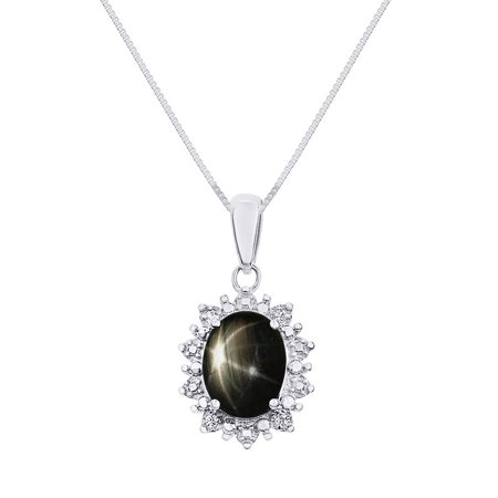 Princess diana inspired halo diamond black star sapphire pendant princess diana inspired halo diamond black star sapphire pendant necklace set in sterling silver mozeypictures Choice Image